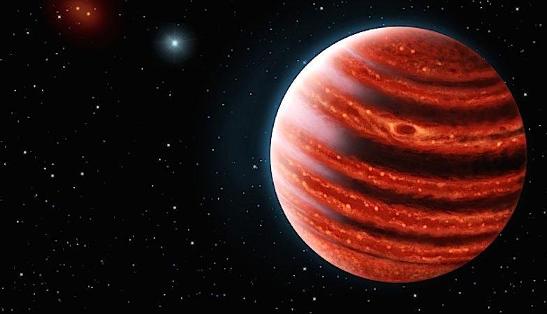 Conceito artístico do 51 Eridani b , um planeta jovem, semelhante a Júpiter