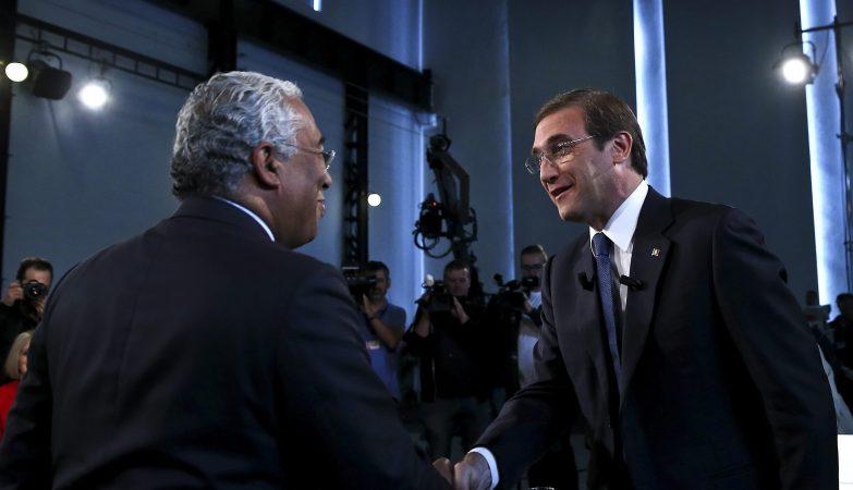 António Costa e Pedro Passos Coelho no debate da rádio para as Legislativas 2015, transmitido pela Antena 1, Renascença e TSF