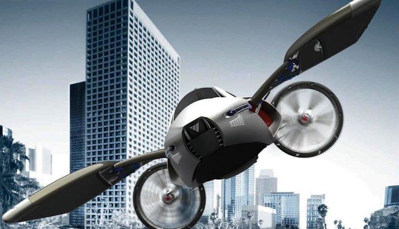 Conceito artístico de um carro voador com linhas futurísticas