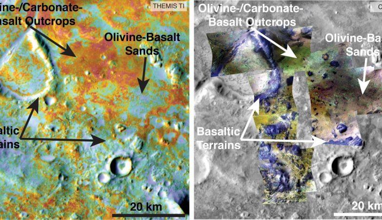 Investigadores estimam o carbono sequestrado no solo do maior depósito conhecido de minerais de carbonato em Marte usando dados de cinco instrumentos pertencentes a três diferentes sondas da NASA, incluindo propriedades físicas do THEMIS (esquerda) e informações minerais pelo CRISM (direita).
