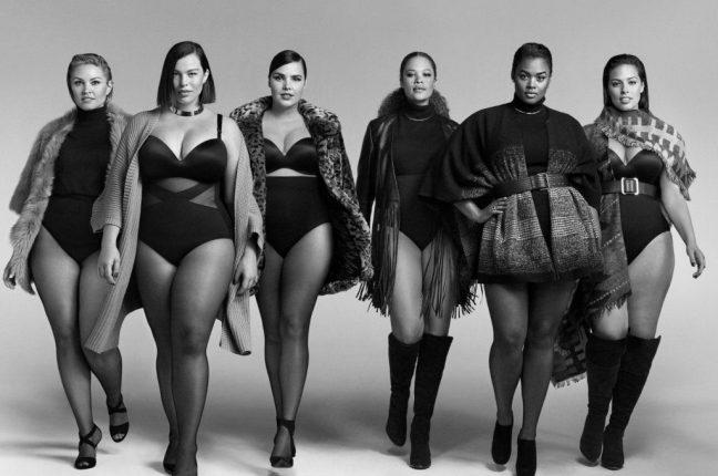 As top models plus size Candice Huffine, Ashley Graham, Precious Victoria Lee, Georgia Pratt, Justine Legault e Sabina Karlsson pedem igualdadeno mundo da moda