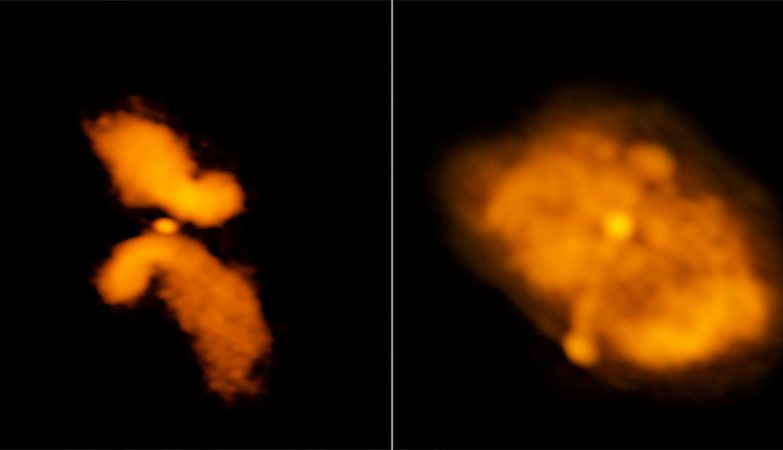 """À esquerda temos a galáxia J0702+5002, que os investigadores concluíram não ser uma galáxia em forma de X, cuja forma é provocada por uma fusão. À direita está a galáxia J1043+3131, que é um candidato """"genuíno"""" a um sistema que sofreu fusão"""
