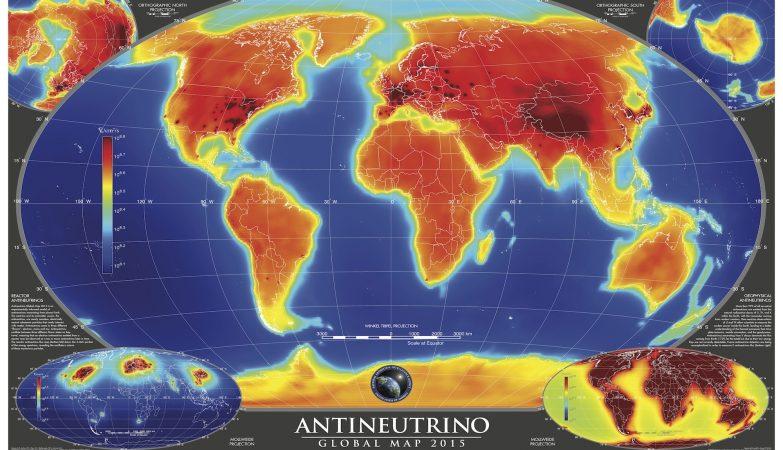 AGM2015, o mapa da radiaoctividade da Terra em 2015, mostra a distribuição de anti-neutrinos à superfície do planeta