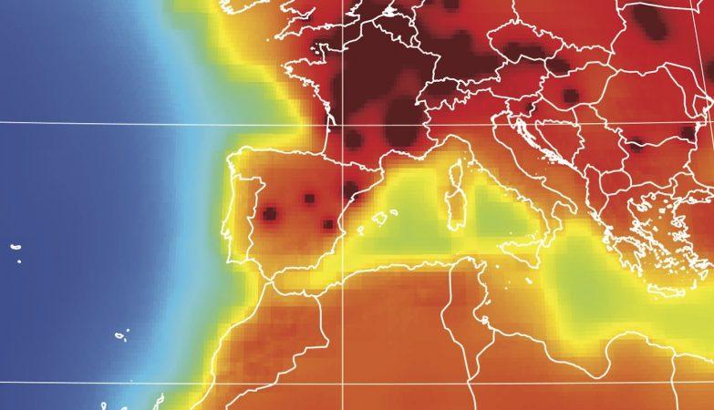 AGM2015, o mapa da radiaoctividade da Terra em 2015, mostra a distribuição de anti-neutrinos à superfície do planeta (p. Europa)