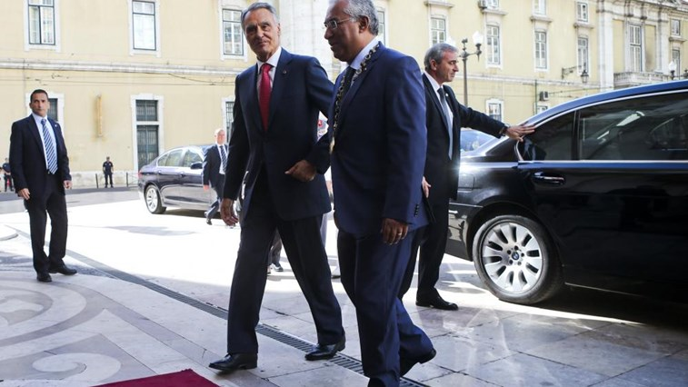 O Presidente da República, Aníbal Cavaco SIlva, com o líder do partido Socialista, António Costa
