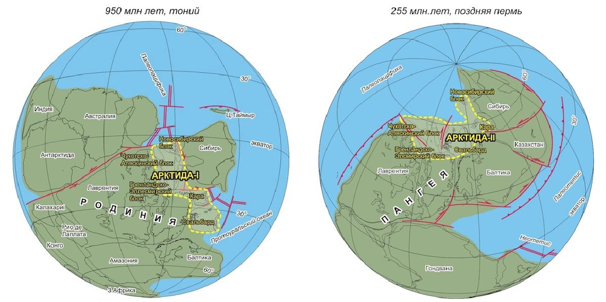 O continente desaparecido Arctida, há 950 e 255 milhões de anos atrás