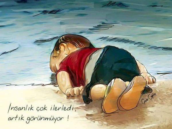Uma ilustração com base na imagem do pequeno Aylan Kurdi foi uma das vítimas do naufrágio de uma embarcação com migrantes sírios, na Turquia