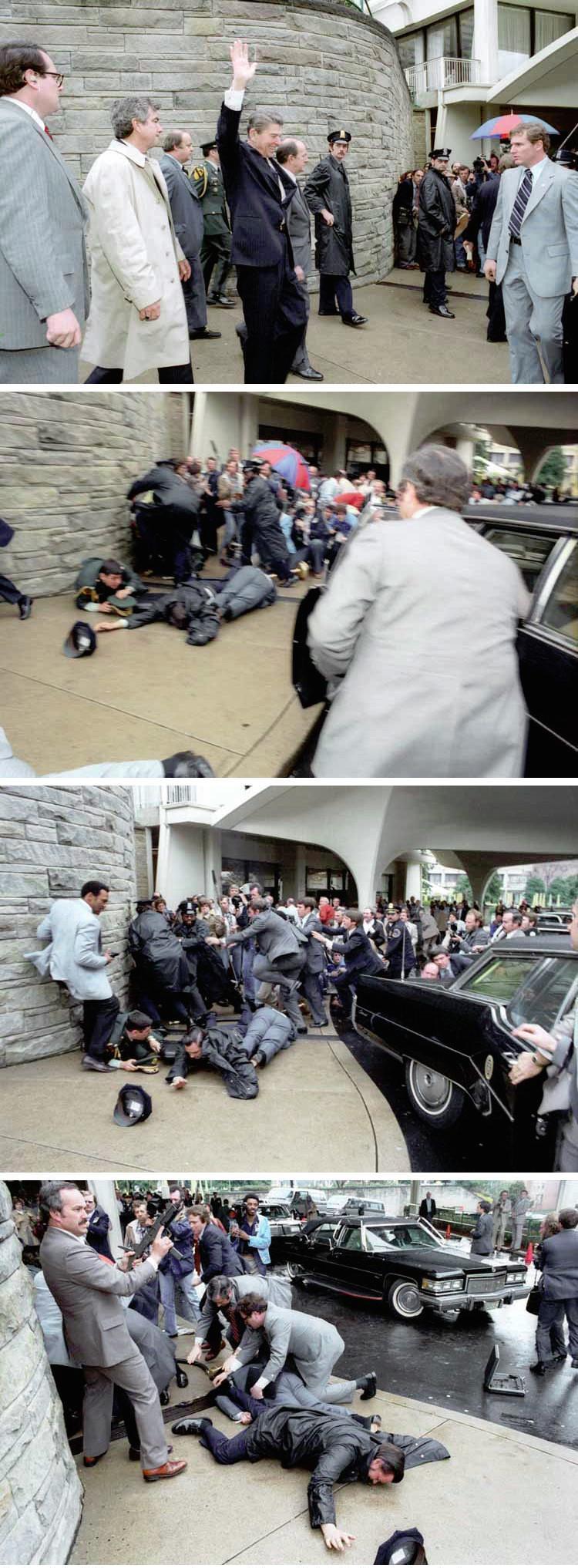 Sequência de imagens captadas durante a tentativa de assassinato de Ronald Reagan, a 390 de Março de 1982