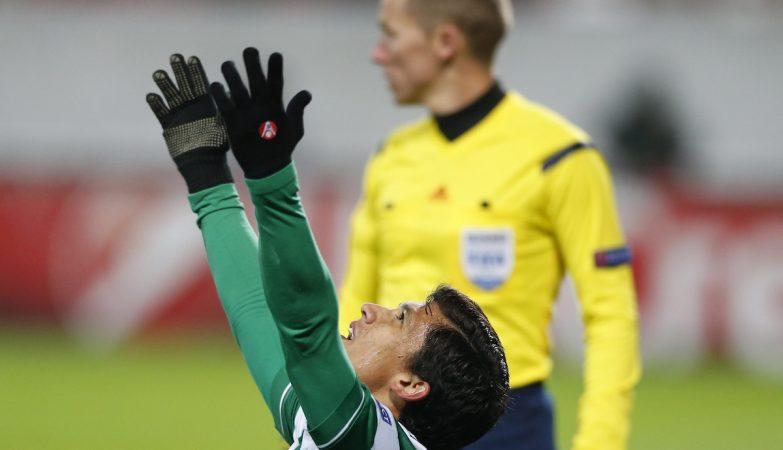 Freddy Montero celebra o primeiro golo do Sporting frente ao Lokomotiv