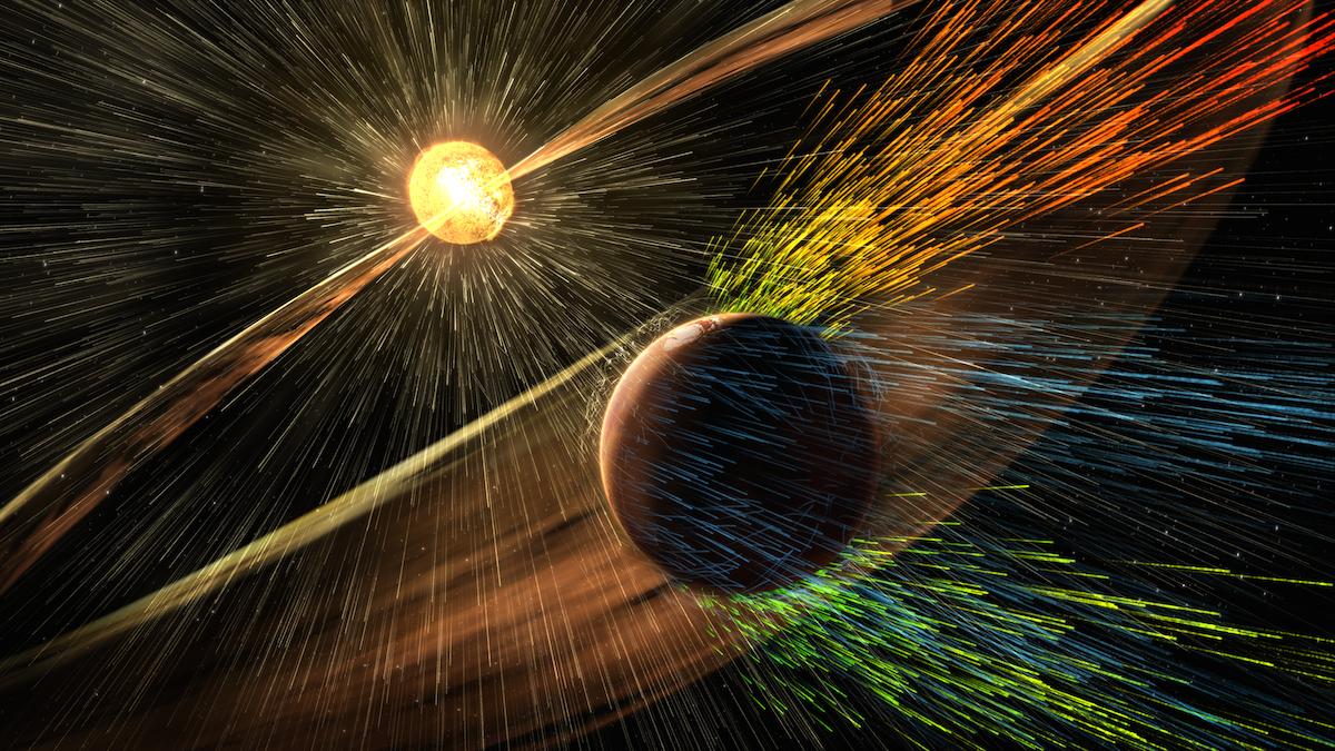 Impressão de artista de uma tempestade solar que atinge Marte e retira iões da atmosfera superior do planeta.