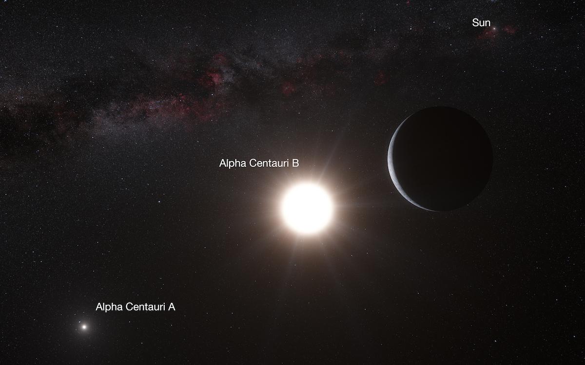 Conceito artístico do exoplaneta  Alpha Centauri Bb (à direita), em óribta de  Alpha Centauri B, a estrela mais próxima do Sol (ao fundo)