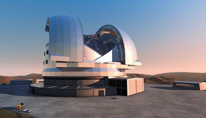 Conceito artístico do European Extremely Large Telescope (E-ELT)