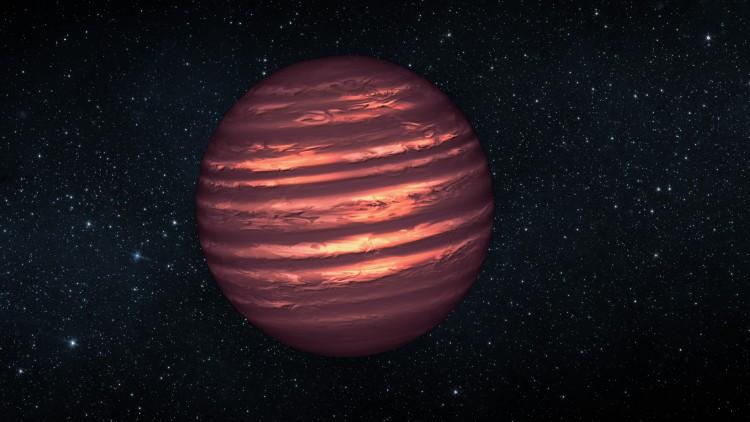 Impressão artística de uma anã castanha. As anãs castanhas são mais quentes e massivas que os planetas gigantes gasosos, mas não têm massa suficiente para se tornarem estrelas. As suas atmosferas podem ser semelhantes às dos planetas gigantes gasosos
