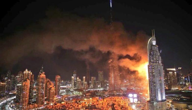 Hotel Adress Downtown, no Dubai, em chamas