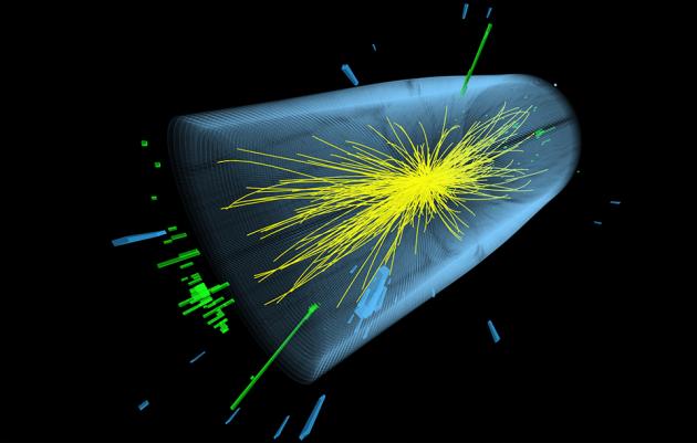 Pares de fotões (a verde) produzidos nas colisões do LHC sugerem a existência de um bosão com massa de 750 GeV