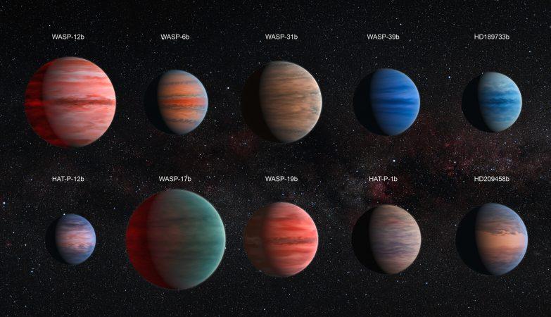 Impressão de artista de dez Júpiteres quentes estudados pelo astrónomos David Sing e colegas com os telescópios Hubble e Spitzer