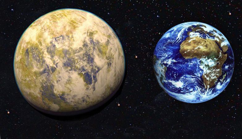 Impressão de artista da super-Terra Gliese 832c (à esquerda), em comparação com o planeta Terra.