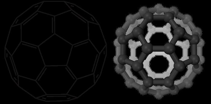Bucky-ball: esquema do arranjo dos átomo uma molécula de C60, o buckminsterfulereno