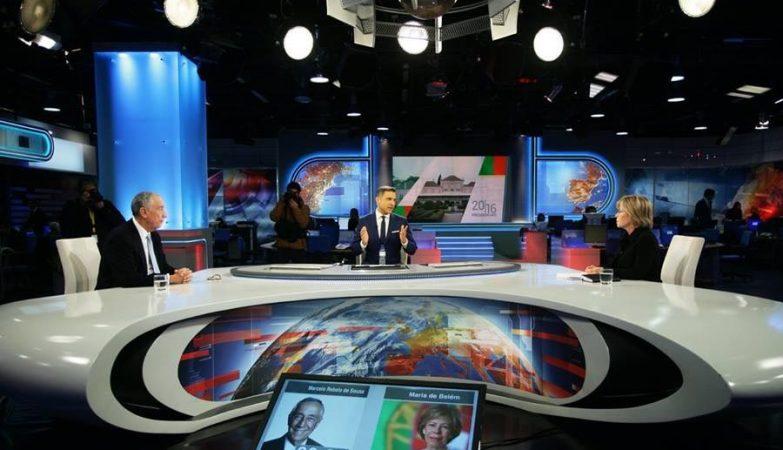 Marcelo Rebelo de Sousa e Maria de Belém no debate presidencial na RTP.