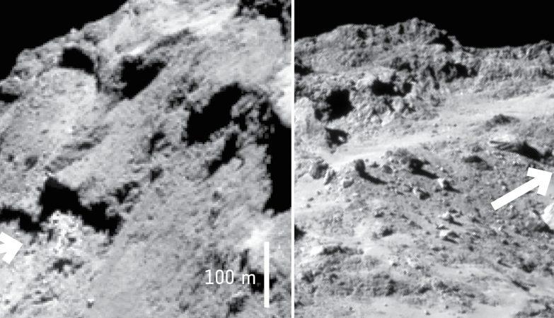 Duas exposições de água gelada identificadas pelo instrumento VIRTIS da Rosetta na região Imhotep do Cometa 67P/Churyumov–Gerasimenko
