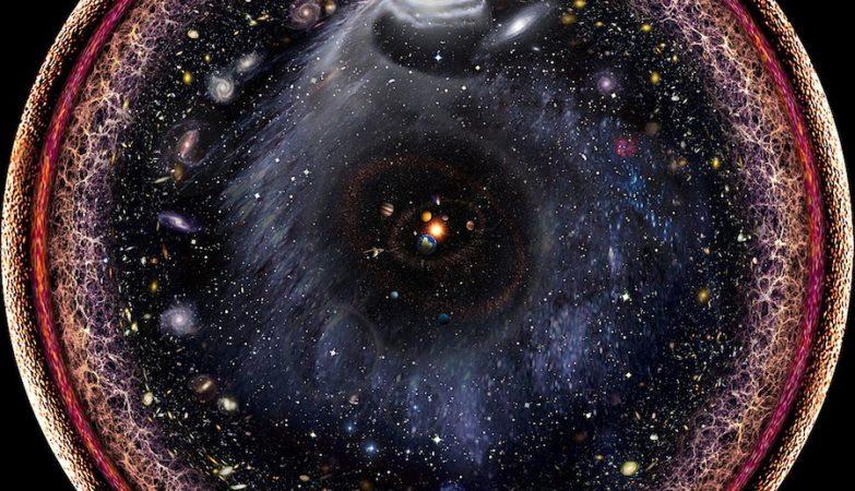 Conceito artístico do aspecto de todo o Universo conhecido / observável numa única imagem radial logarítmica, por Pablo Carlos Budassi