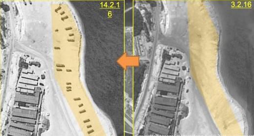 Imagens de satélite dos dias 3 e 14 de fevereiro mostram a instalação de mísseis na ilha de Woody, no arquipélago Paracels, no Mar do Sul da China