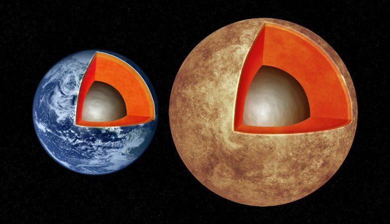 Impressão artística das estruturas interiores da Terra e do exoplaneta Kepler-93b