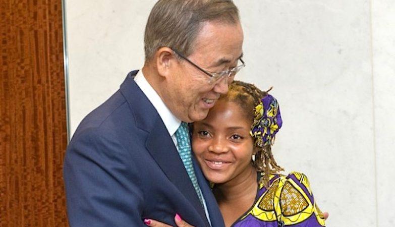 Raquelina Langa, a menina que queria ser secretária-geral da ONU, com Ban Ki-moon