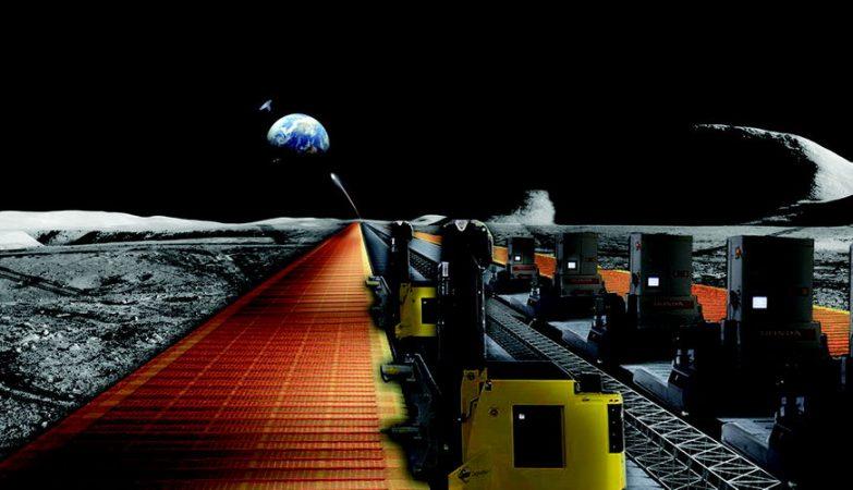 Conceito artístico do funcionamento de painéis solares construídos na Lua a enviar energia para a Terra