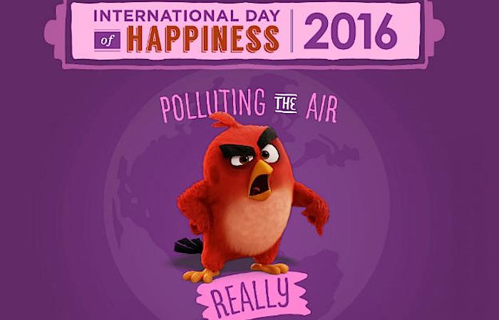 Red, o pássaro vermelho, está irritado com a poluição do ar. Imagem oficial da campanha da ONU