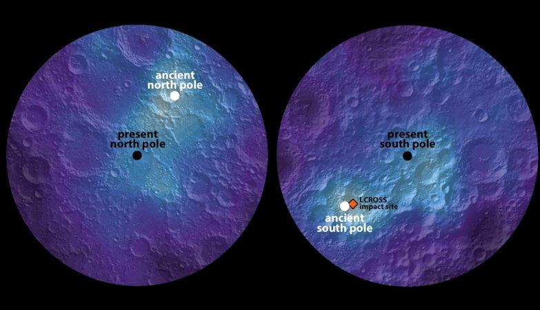 Este mapa polar do hidrogénio dos hemisférios norte e sul da Lua identifica os polos atuais e passados. Na imagem, as áreas mais claras mostram concentrações mais elevadas de hidrogénio e as áreas mais escuras mostram concentrações mais baixas.