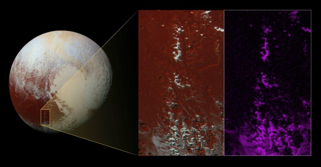 Imagem de Plutão, cuja inserção mostra o sudeste da região Cthulhu Regio
