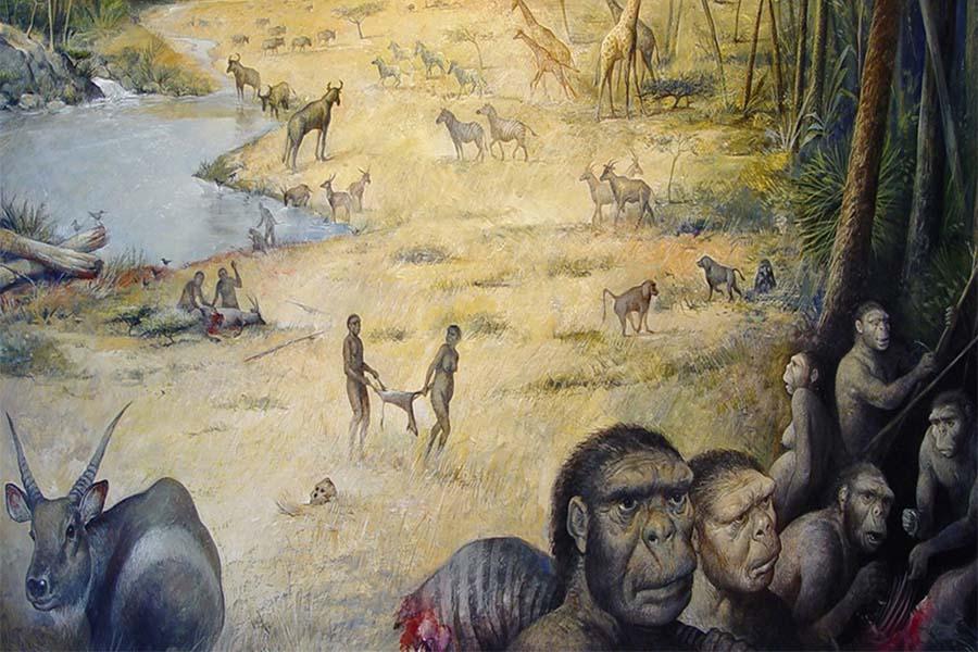 Ilustração do habitat dos humanos primitivos em África, há 1.8 milhões de anos.