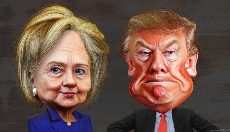 Hillary Clinton e Donald Trump por Donkey Hotey