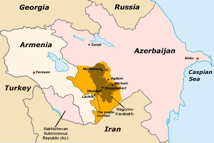 O Nagorno-Karabakh, república independente de facto, é uma região montanhosa disputada entre a Arménia e o Azerbaijão