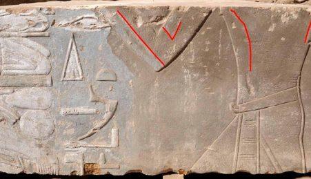 A representação original (marcada a vermelho) mostra uma silhueta feminina, segundo os investigadores