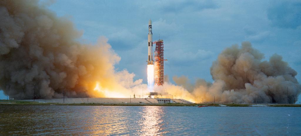 Lançamento do Skylab a partir do Kennedy Space Center da NASA, no Cabo Canaveral, na Florida, EUA, 4 de Maio de 1973