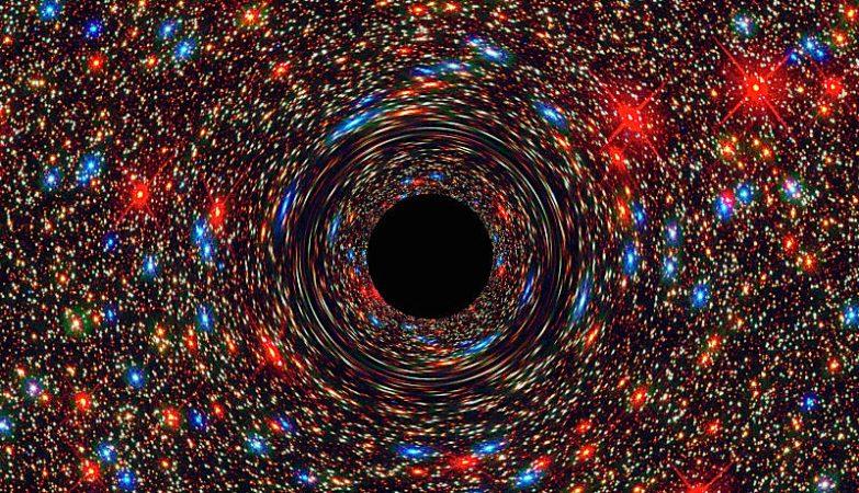 Simulação de computador do novo buraco negro gigantesco descoberto na galáxia NGC 1600