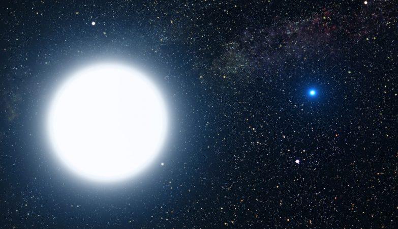 Representação artística da anã branca Sirius, a estrela mais brilhante no nosso firmamento
