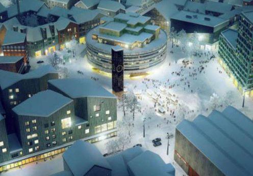 """Kiruna, na Suécia: a etapa inicial é mover o """"centro"""" de Kiruna que, na realidade, fica na parte oeste da cidade"""