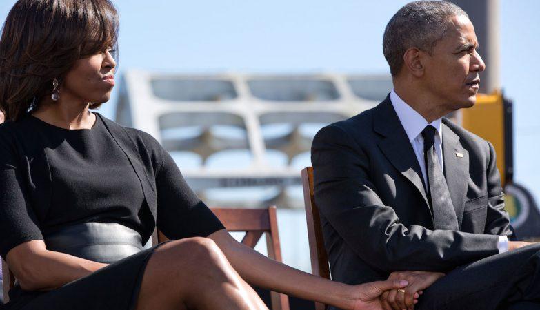 A primeira-dama, Michelle, com o Presidente dos Estados Unidos, Barack Obama