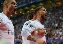 Pepe e Sergio Ramos comemoram o primeiro golo do Real Madrid