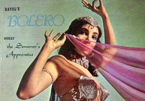 Capa de O Bolero de Ravel interpretada nos anos 50 pela The London Philarmonic Orchestra, conduzida por Hugo Rignold