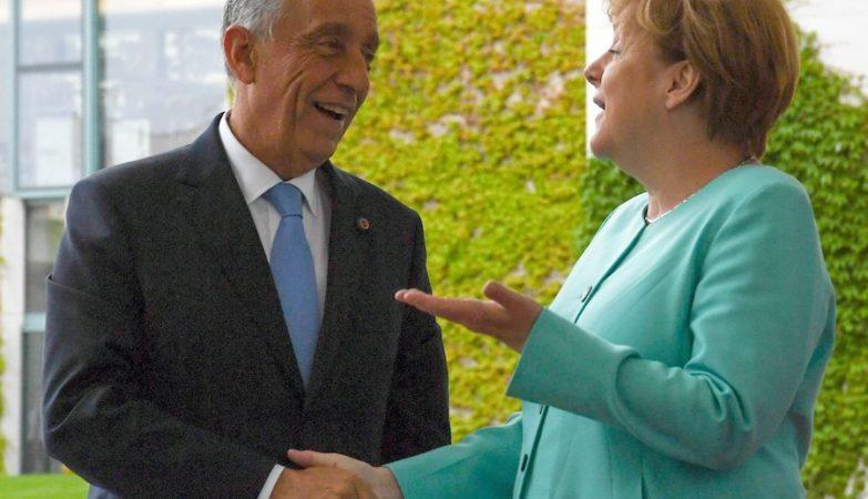 O Presidente da República Marcelo Rebelo de Sousa com a chanceler alemã Angela Merkel