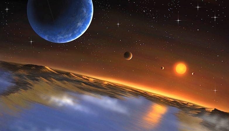 Conceito artístico do sistema planetário Kepler 62