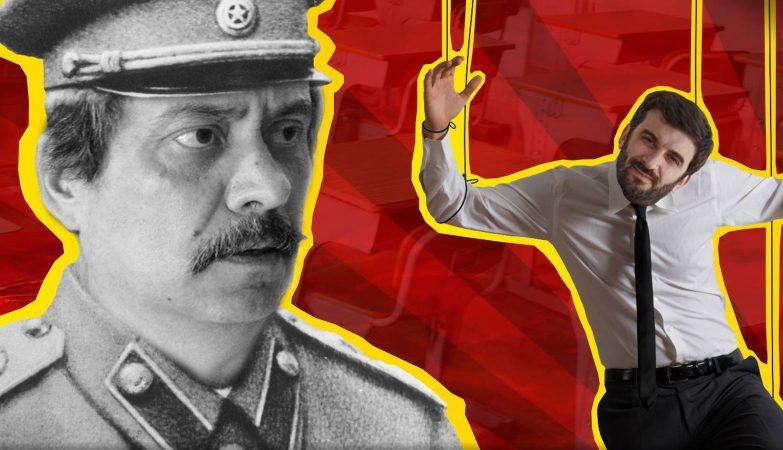 Cartaz da JSD com Mário Nogueira como Estaline e Tiago Brandão Rodrigues como marioneta (detalhe)