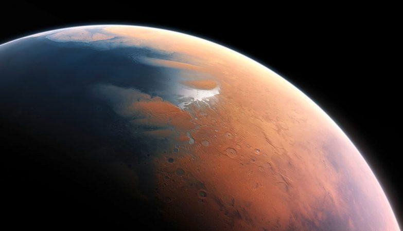 Conceito artística da superfície de Marte coberta de oceanos há 4 mil milhões de anos