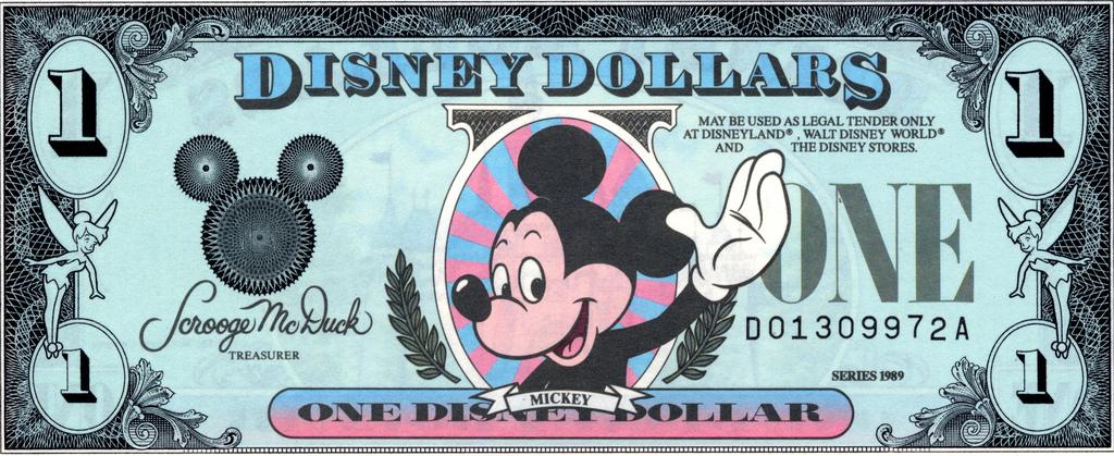 Adeus, nota de dólar do rato Mickey. Adeus Sininho!