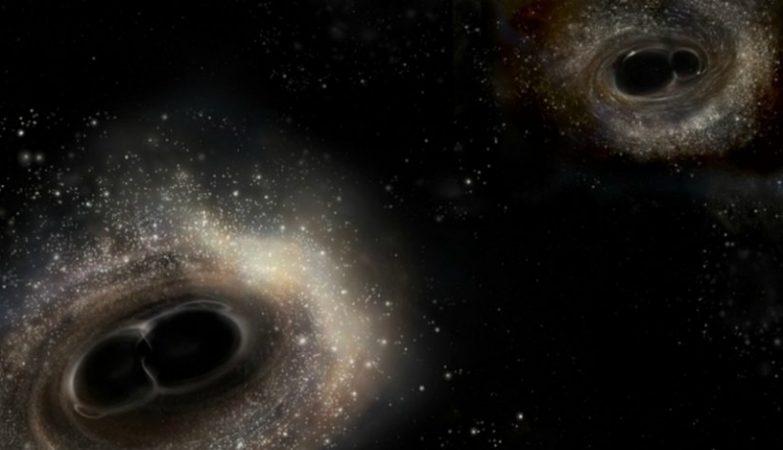 Representação artística das fusões de buracos negros detectadas pelo LIGO