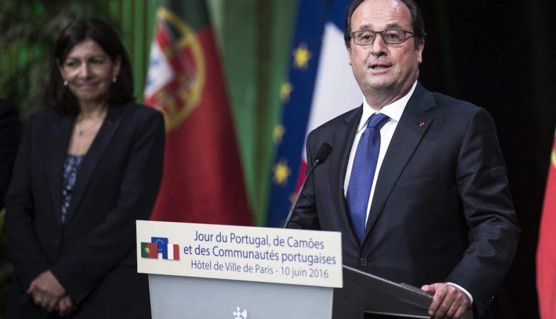 O presidente francês, Francois Hollande, nas comemorações do 10 de Junho em Paris